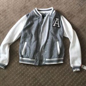 Gray and White Varsity Jacket